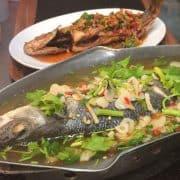 special summer menu steam seabass