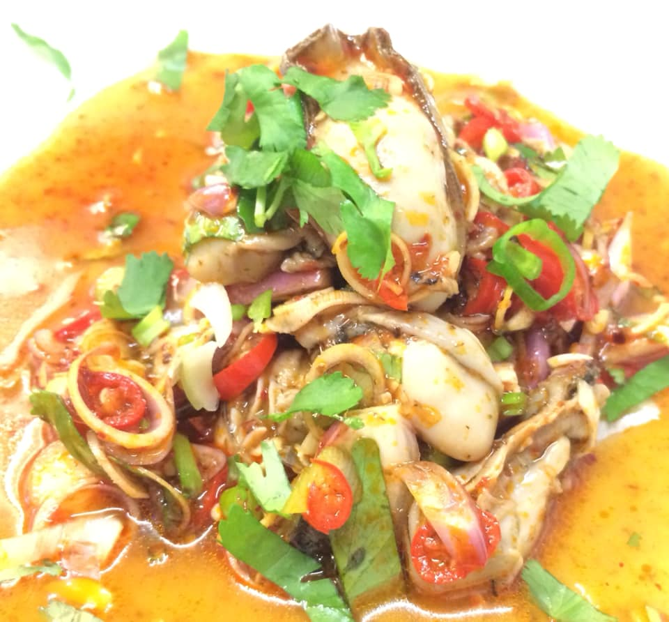 Thai spicy oyster salad